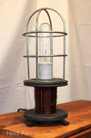 Copper Wire Spool Lamp