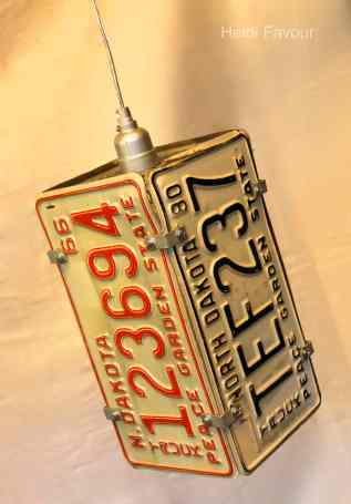 License Plate Pendant Light